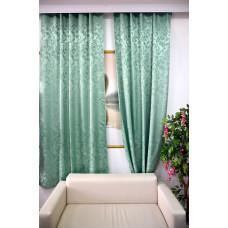 Комплект боковых штор (тюль) 2701, зеленый