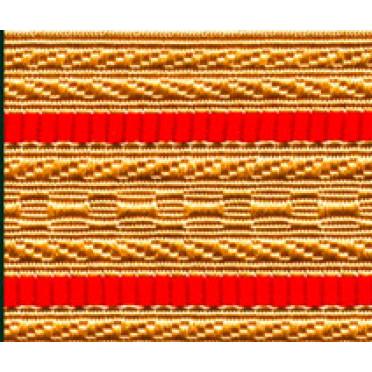 Лента для погон 3441 - крем с 2 красными просветами