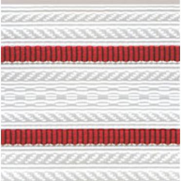 Лента для погон 3471 - белый с 2 краповыми просветами
