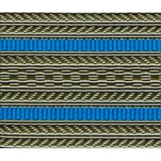 Лента для погон 3533 серо-оливковая с 2 голубыми  просветами