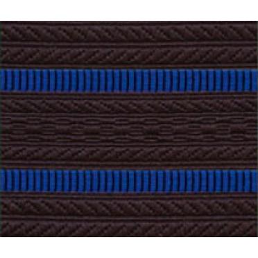 Лента для погон 3533 сине-черный с 2 ярко-синими просветами