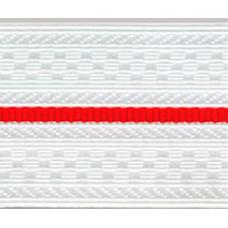 Лента для погон 9517 - белый с 1 красным просветом