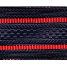 Лента для погон 3652 - темно-синий с 2 красными просветами