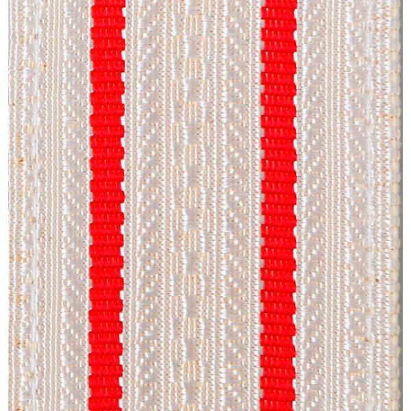 Лента для погон 9518 - белый с 2 красными просветами